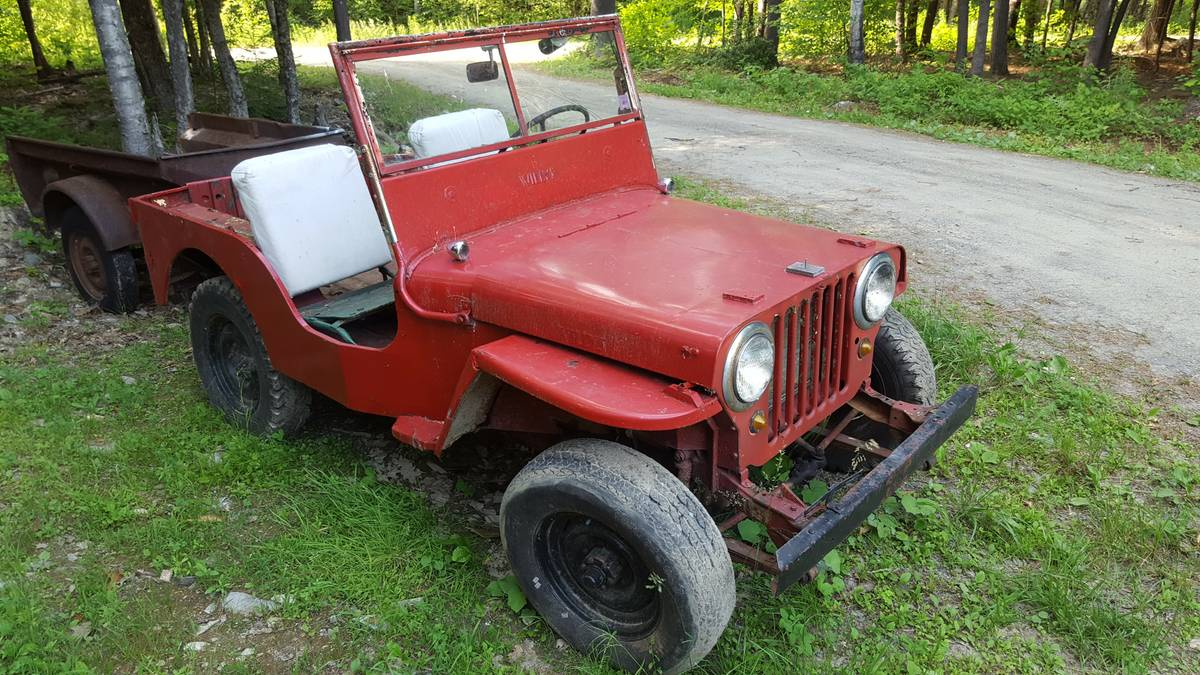 1948 willys red cj2a jeep project for sale in bangor me 975. Black Bedroom Furniture Sets. Home Design Ideas